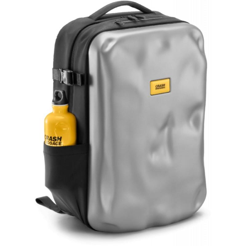 ICONIC backpack silver - zaino semi rigido in materiale riciclato argento - Crash Baggage