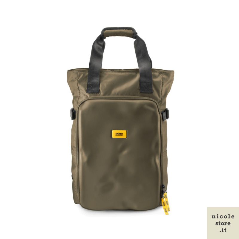 CNC tote bag olive - handbag and backpack in recycled technical material - Crash Baggage