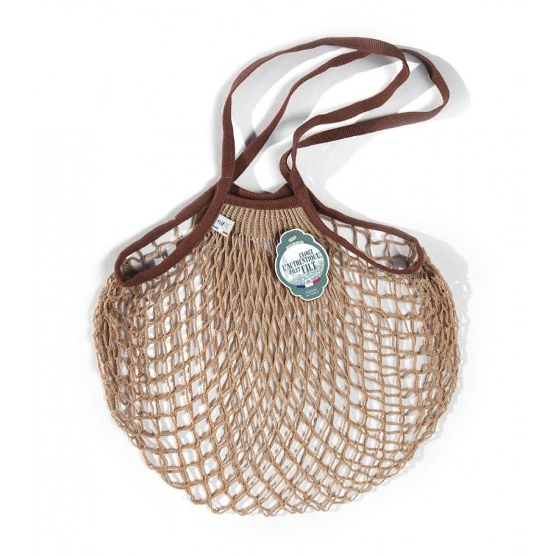 Borsa a rete in cotone con manico a spala Mastice e Seppia Mastic Marron Sepia Filet Filt 1860