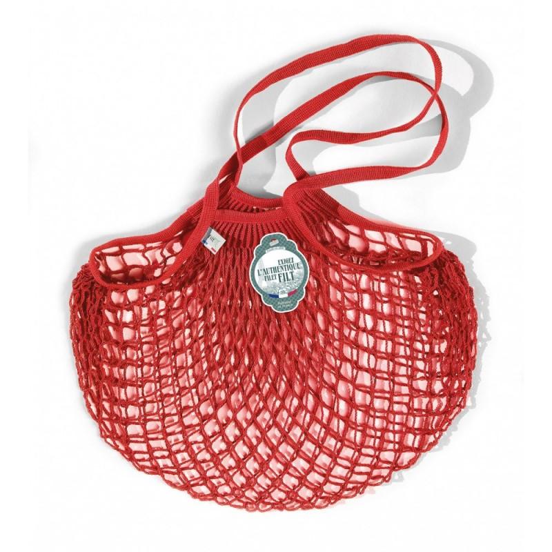 Borsa a rete in cotone con manico a spalla rosso anemone rouge anémone di Filet Filt 1860