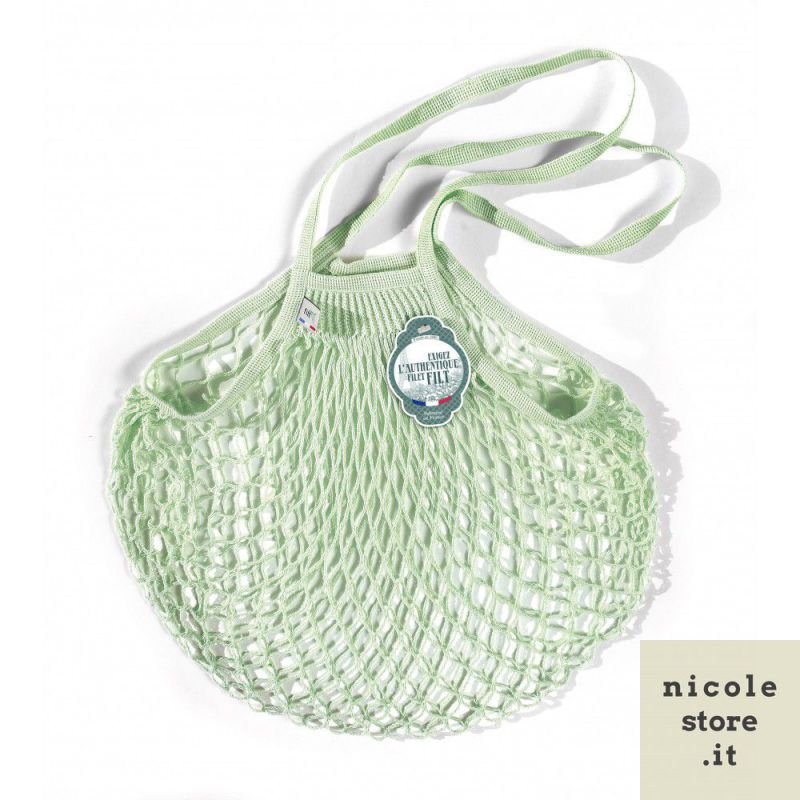 Elixir mint cotton mesh / net bag with shoulder handle by Filet Filt 1860