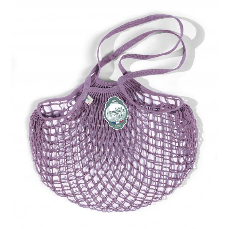 Thé à la rose cotton mesh / net bag with shoulder handle by Filet Filt 1860