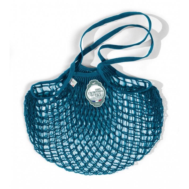 Aquarius blue cotton mesh / net bag with shoulder handle by Filet Filt 1860