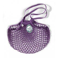 Borsa a rete in cotone con manico a spalla viola prugna violet prune di Filet Filt 1860