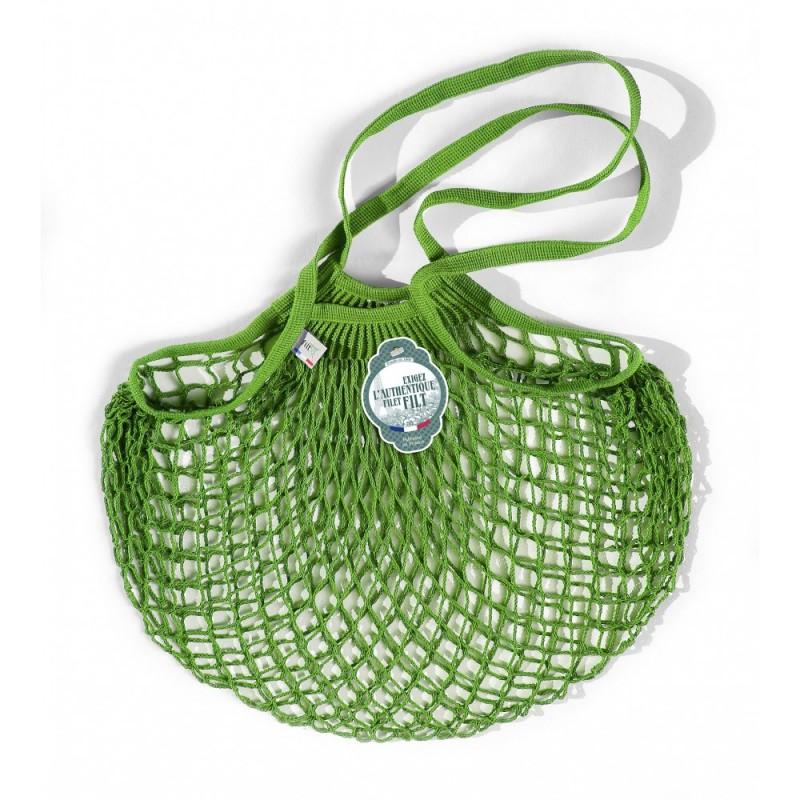 Borsa a rete in cotone con manico a spalla verde lattuga vert laitue di Filet Filt 1860