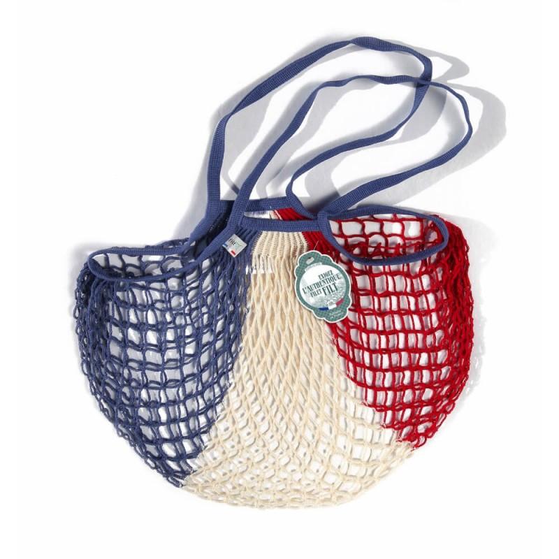 Blue white red (bleu blanc rouge) cotton mesh / net bag with shoulder handle by Filet Filt 1860
