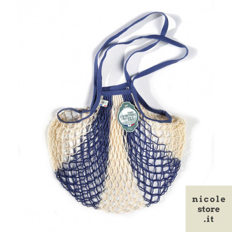 Blue jeans white bleu jean ecru cotton mesh / net bag with shoulder handle by Filet Filt 1860