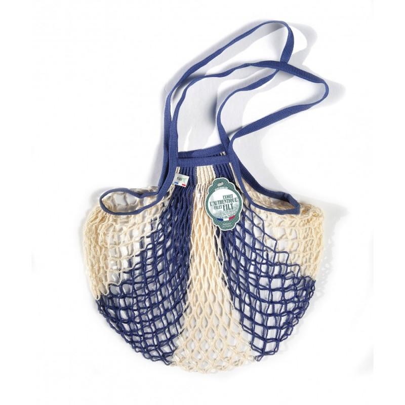 Borsa a rete in cotone con manico a spalla blu jeans bianco bleu jean ecru di Filet Filt 1860