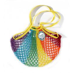 Rainbow cotton mesh / net bag with shoulder handle by Filet Filt 1860