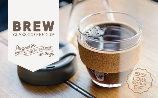 KeepCup Café Series Brew Cork - Collezione di Tazze in vetro con bandella in sughero organico Eco Sostenibili - Nicole è rivenditore ufficiale KeepCup Italia
